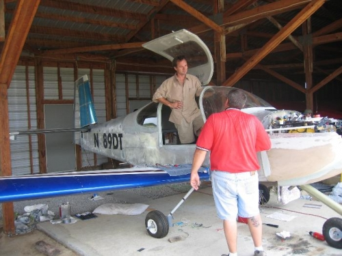 Jan and Dan in Dan's hangar