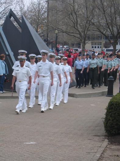 Marching into the stadium, Brad is the first AFROTC cadet