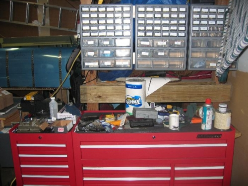Messy tool chest top