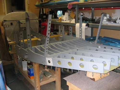Forward and mid fuselage sections bolted together (side view)