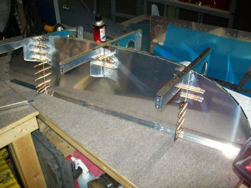 Upper fuselage assembly cleco'd together.
