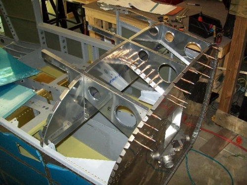 Upper fuselage panel cleco'd into the fuselage