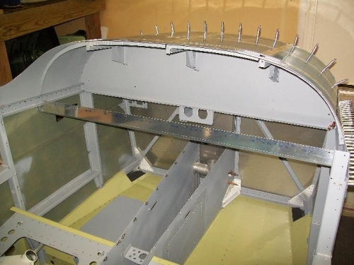 Upper fuselage assembly temporarily installed on fuselage