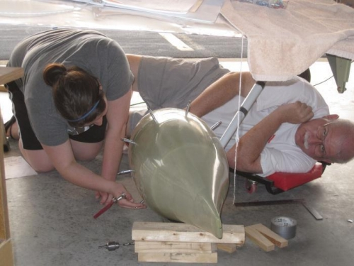 Bob & Renee working on the left wheel pant