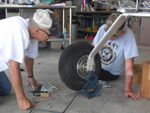 Eric and Terry fitting right brake assembly