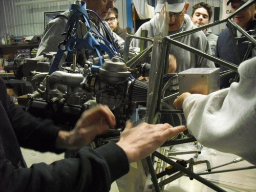 attaching the engine to the fuselage
