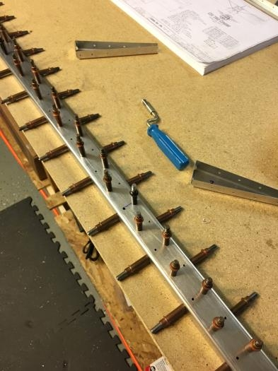 spar & doublers cleco'd for riveting