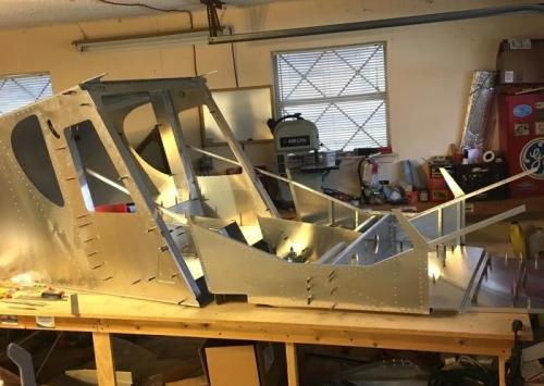 fuselage rearranged on bench