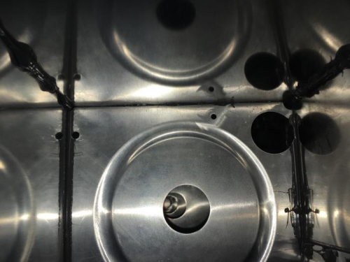 Inside tank after installing baffle
