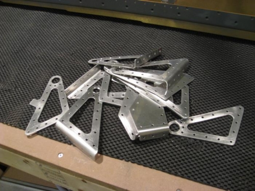Aileron bracket parts ready for priming