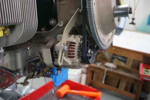 Alternator in place