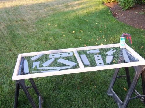 Primed HS ribs on paint rack