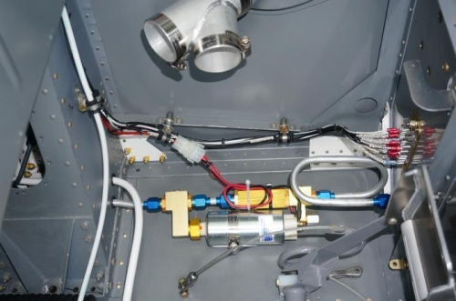 Completed wiring to fuel boost pump and firewall groung block