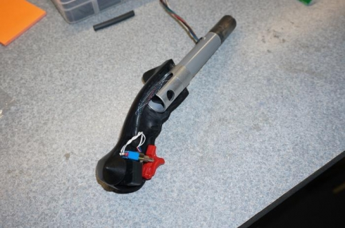 Infinity stick grip being installed