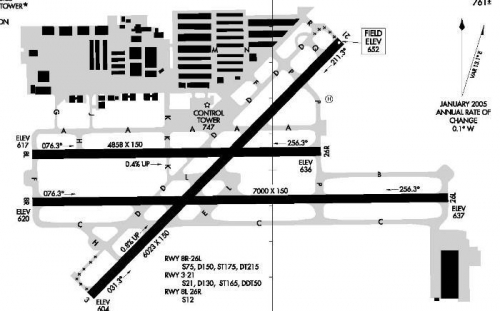 Airport map of CNO. I'm six hangar rows due north of the tower.