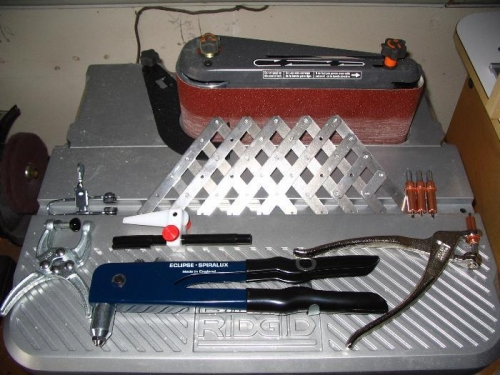 Hand riveter, cleco pliers & assorted tools