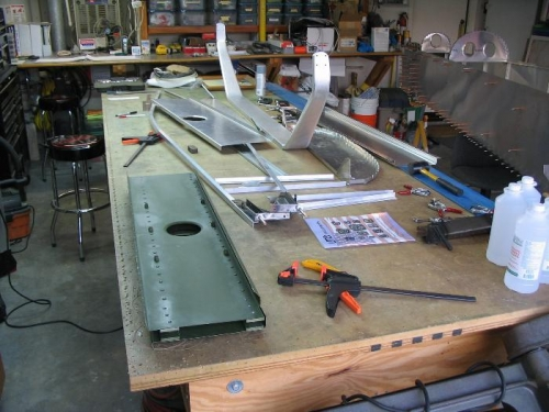 My airplane fuselage in pieces on the table