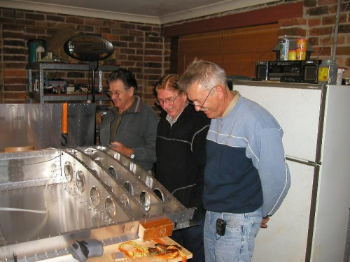 Keith, Bill and Paul inspecting the Pitot installation