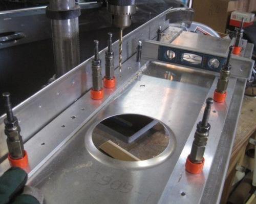 Front spar on drill press closeup