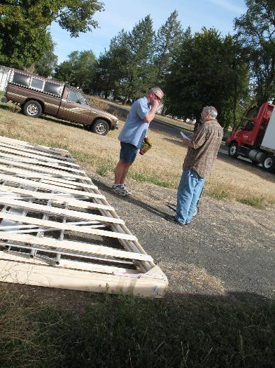 Truck driver Dan & I inspecting the crate
