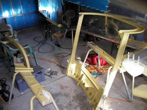 All the canopy frame componets removed, preped and etch primed