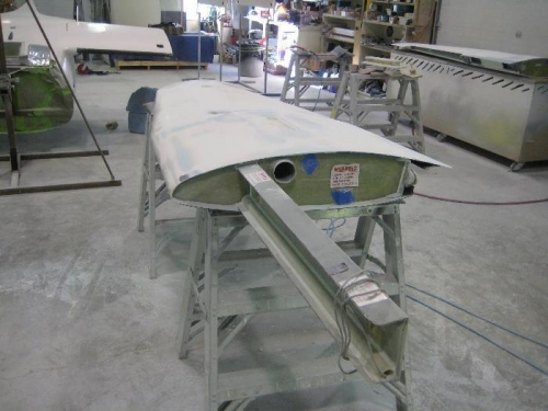 Wing being sanded.