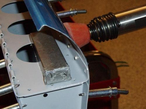 Rivet row of top skin rivets