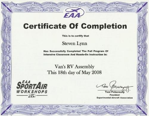 RV Builder's Class Certificate