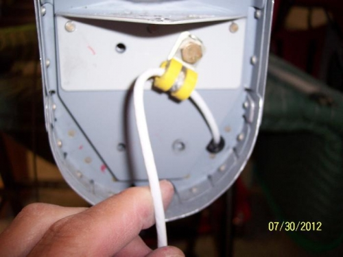 Light wire goes into plastic tip