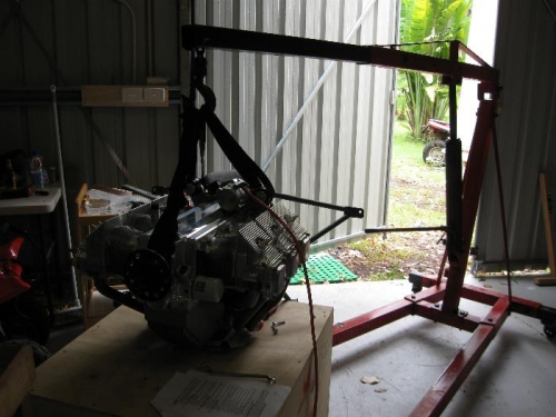 engine crane and seatbelt webbing used to lift the engine