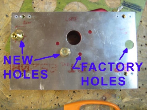 With the plates reversed, I could drill new holes.