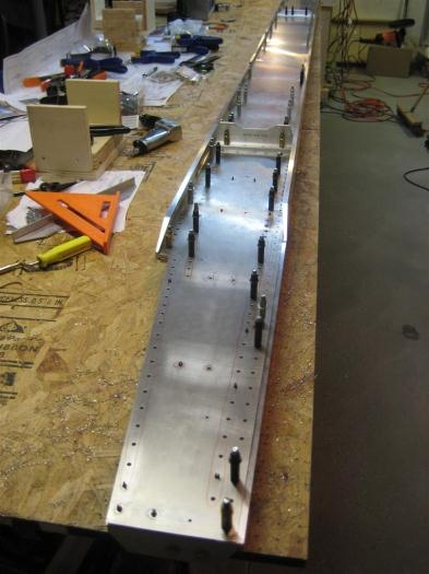 The right spar assembly with everything updrilled, but not for the angles