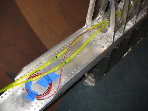 Tubing and wiring, with lots of extra. Note the color coding & text for the pitot/static tubes.