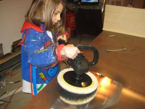 My 5yr old, Sophia, helping to polish. Good technique!