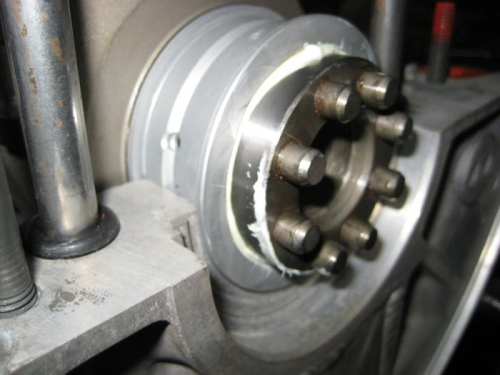 Rear bearing of crank shaft, in place in the case half.