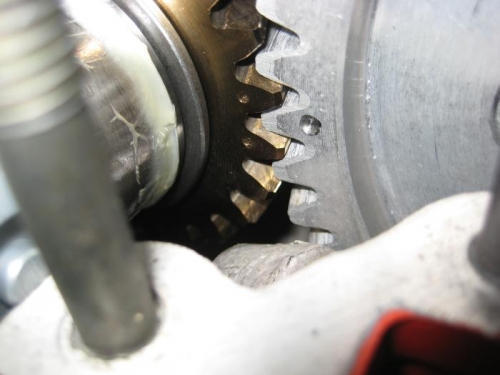 Cam gear (right) and crank gear (left) with teeth properly meshed.