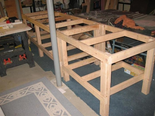 Both sections put together. The plywood tops will overlap the frame on one side.