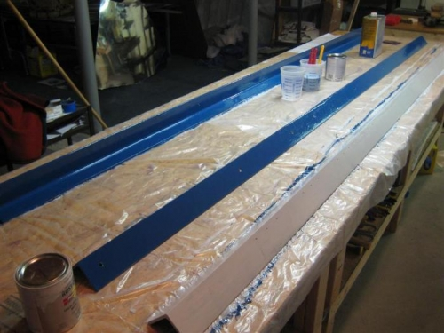 2 painted in blue enamel; 1 in primer