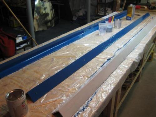 2 painted in blue enamel; 1 in primer
