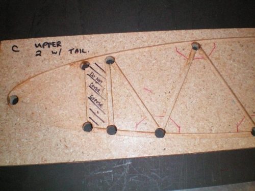 A close up of the jig.  I've crossed out the front spar.