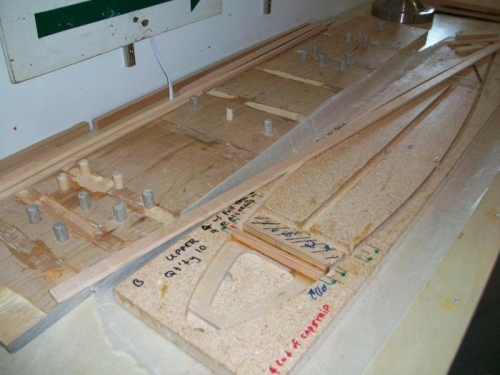 The rib jig to the right of the Popping Board