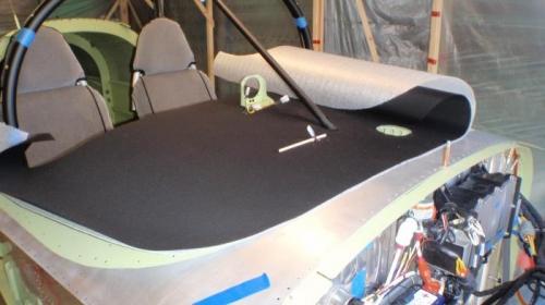 fabric cut then roll bar brace installed