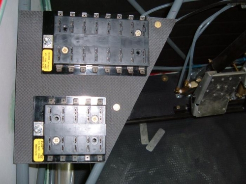 Fuse blocks on carbon shelf