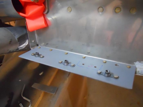 Mounting plate riveted to fuse/firewall