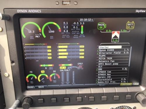 Screen shot with engine running