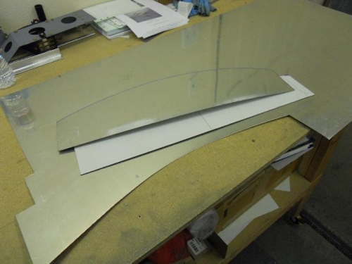 Made poster board template, then cut the door from .040