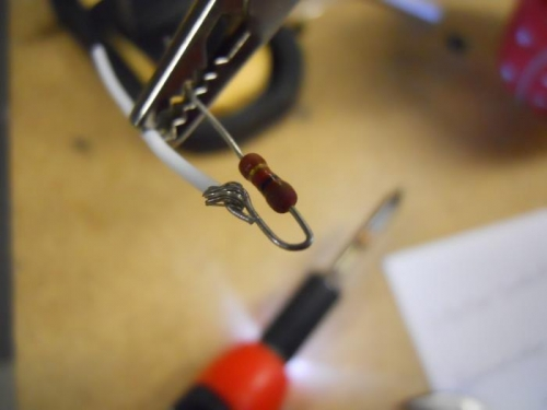 Soldering wire to resistor
