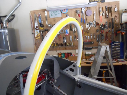 First line of tape on rollbar