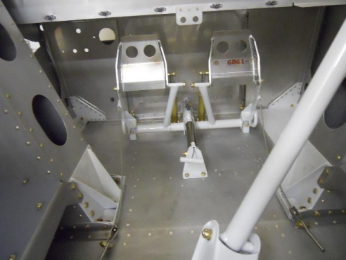 Rudder pedals with cables attached