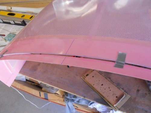 Cut off excess at rear of upper cowl